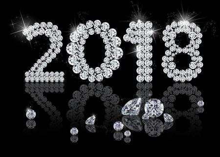 Brilliant New Year 2018: elegant, precious, elegant and luxury diamond jewelry illustration with sparkles on a black background.