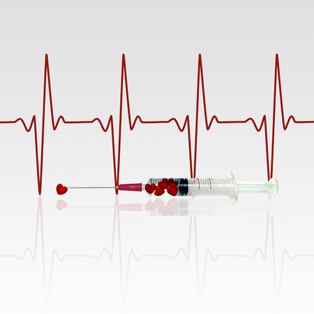 Injection of love illustration: An injection filled with red heart in front of an EKG line.