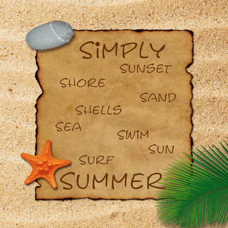 Old parchment paper with palm leaf, stone and starfish on beach sand background. Simply summer: sunset, shore, sand, shells, sea, swim, sun, surf. Stock Photo
