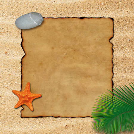 Old parchment paper with palm leaf, stone and starfish on beach sand background. Stock Photo