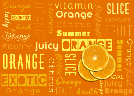 Summer illustration: Slices of a fresh orange fruit with yellow and orange text typography. Stock Photo