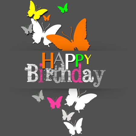 A modern and trendy happy birthday illustration: gray background with colorful neon butterflies.
