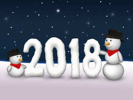 31th: 2 cute snowmen are looking at the snowy number of the year 2018. Stock Photo