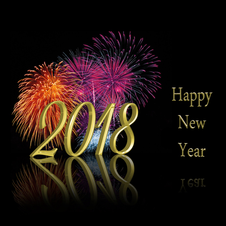 Sparkling precious golden New Year: 3d illustration 2018 with a colorful sparkling fireworks display on a black background. Stock Photo