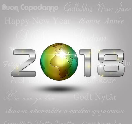 New Year 3D Illustration: A golden globe with shiny silver number 2018 on a light gray background with new year greetings in different languages. Stock Photo