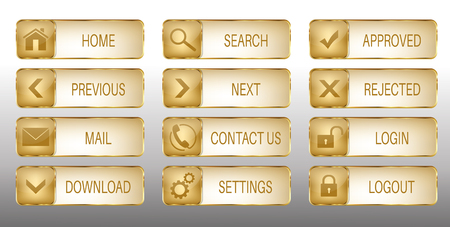 Set of 12 elegant golden web buttons with icons: home, search, previous, next, mail, contact us, download, settings, approved, rejected, login, logout. Illustration