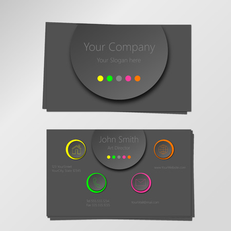 Colorful modern vector business card design template, circles in neon and gray shades with 3D effect. Illustration