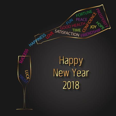 Colorful and modern happy new year 2018 illustration