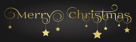 Elegant and noble gold Merry Christmas lettering with stars