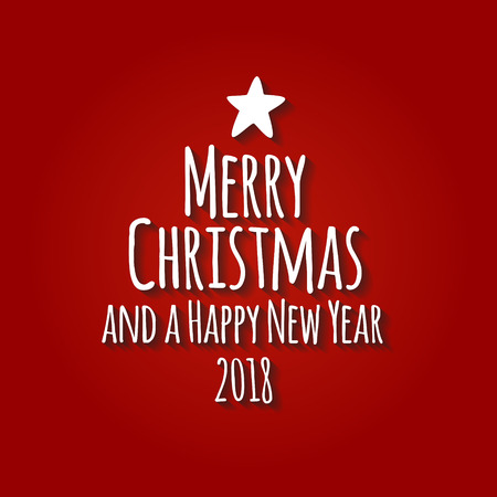 Vector illustration Merry Christmas and a happy new year 2018 modern typography Christmas tree with a star.