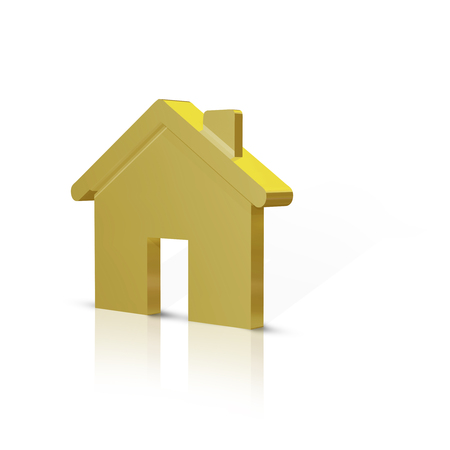 Gold metal 3d house shape icon with reflection and shadow on white background.