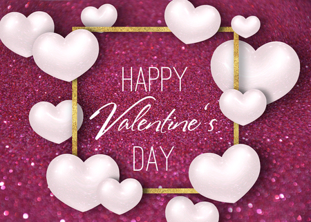 Happy Valentines Day festive sparkle glitter burgundy dark red background illustration with white realistic 3D hearts and gold foil frame. Text written in modern script letters.
