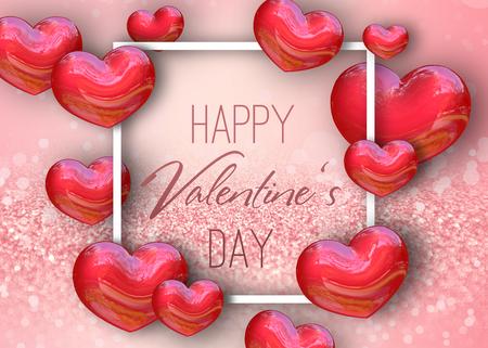 Happy Valentines Day festive sparkle glitter light pastel pink rose background illustration with red realistic 3D render Hearts and white frame.
