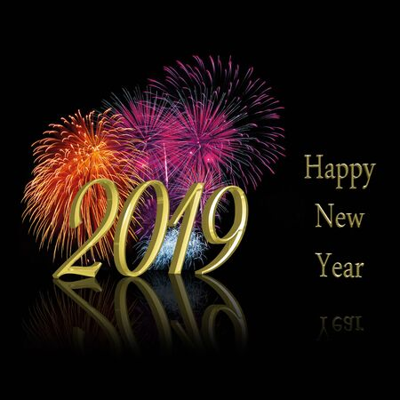 Sparkling precious golden new year: 3D illustration 2019 with a colorful sparkling fireworks display on a black background. Stock Illustration - 95390405
