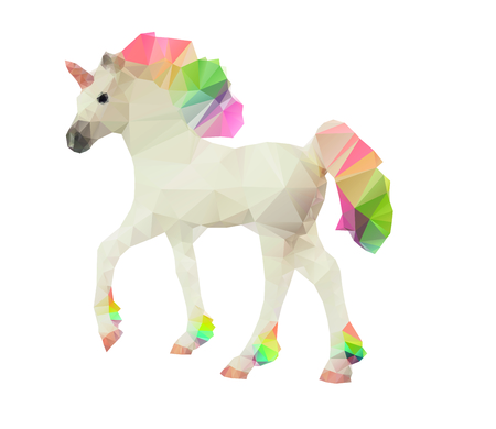 Unicorn low poly polygonal vector illustration with multicolor rainbow mane and tail isolated on a white background. Stock Vector - 95797889