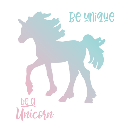 Magic unicorn blue pink pastel gradient vector illustration with quote be unique be a unicorn isolated on a white background.