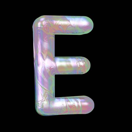 Modern liquid marble holographic 3D render Letter E uppercase illustration isolated on a back background.