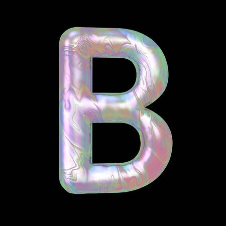 Modern liquid marble holographic 3D render letter B uppercase illustration isolated on a back background.