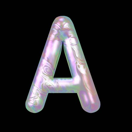 Modern liquid marble holographic 3D render letter A uppercase illustration isolated on a back background.