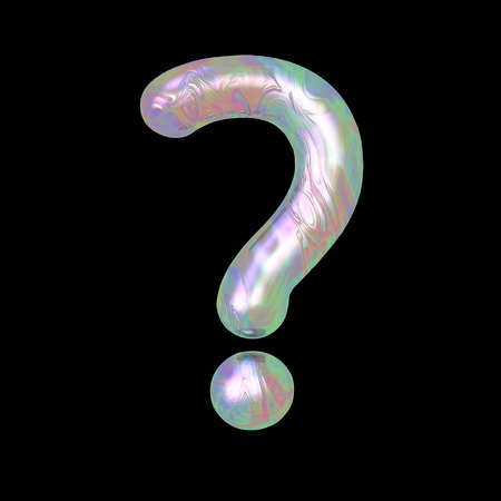 Modern liquid marble holographic 3d render letter symbol question mark? illustration isolated on a back background. Stock Photo
