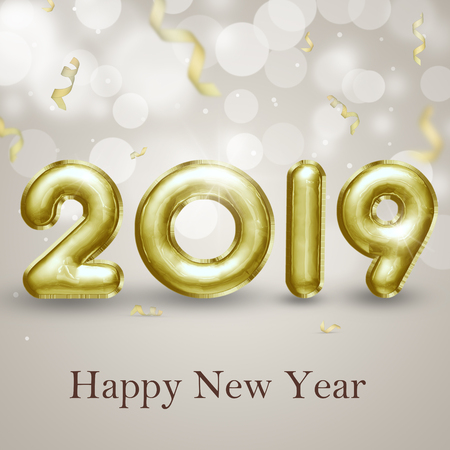 Modern, classy, ??precious and elegant gold 3D illustration. Happy New Year 2019 3d foil balloons with curled confetti on a light classy bokeh background. Stock Photo