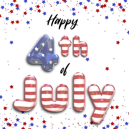 Modern, trendy and elegant stars and stripes 3D illustration featuring Happy 4th of July 3d foil balloons with star-spangled confetti in the national colors of the american flag isolated on white. Stock Photo