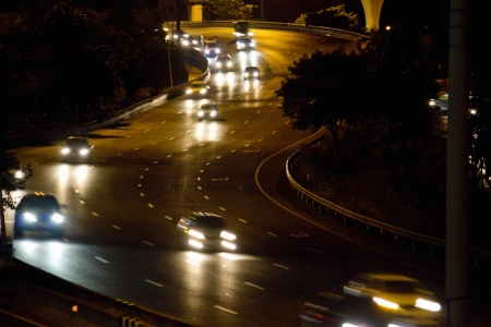 slow lane: Car was running the streets at night