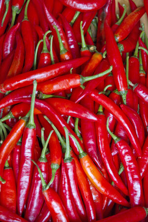 different size peppers Green red yellow of asia photo