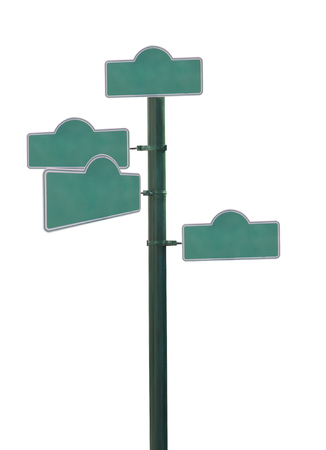 adboard: Blank Green street sign Isolated on White background