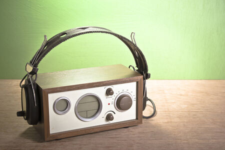 modern radio and headphones retro style,  mint green , retro color photo