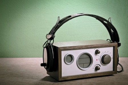 modern radio and headphones retro style,  mint green , Vignettes photo