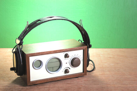 modern radio and headphones retro style,  mint green  photo