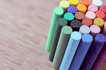 Multicolored crayons on wood  Reklamní fotografie