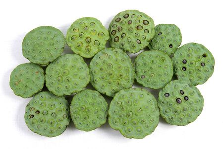 seedpod: Lotus seeds green Isolated