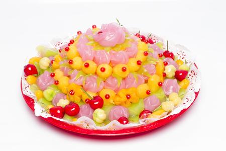 Traditional Thai Sweet Dessert Of Rose Shape.