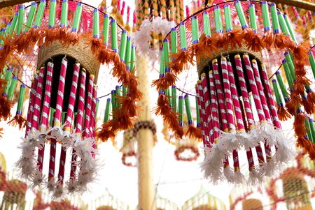 ancient tradition: Colorful local art sculpture of Thailand Northeastern, Thailand festivals Hae Krathup Tradition An ancient tradition of Northeast Thailand celebrate. Stock Photo