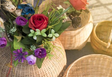 Flowers in Basket Bamboo weave