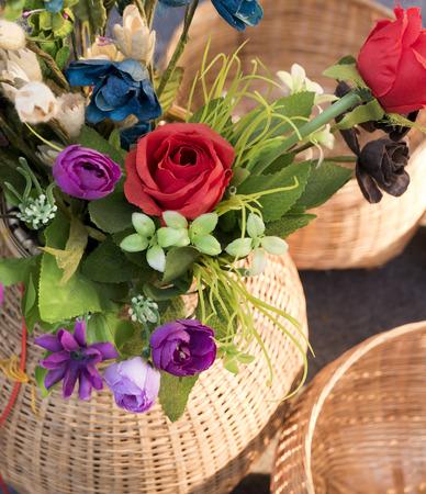 basketry: Flowers in Basket Bamboo weave