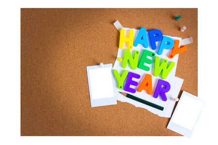 New Year card with objects board Imagens