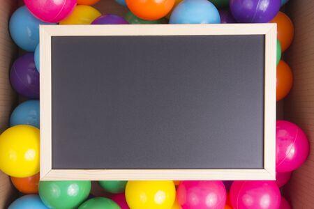 Blackboard on Colorful ball. Stock Photo