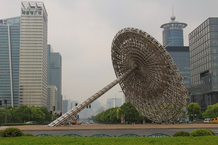 pu dong:  Sundial at the Pu Dong Century Boulevard in Shanghai