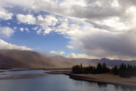 view: Scenery view in Tibet Stock Photo