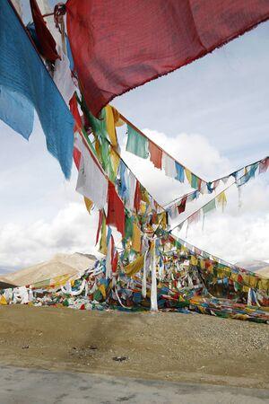 tibet: pray flags in Tibet