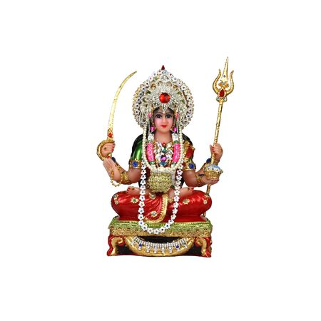 Hindu goddess Aumadavi on a white background