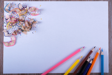 filings: Colored pencils on white paper