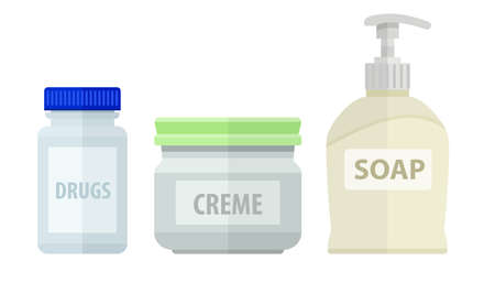 neatness: Set of bottles for bath soap and cream.  Illustration