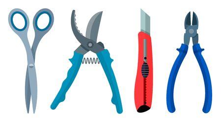 secateurs: Set cutting instrument scissors secateurs knife nippers flat.
