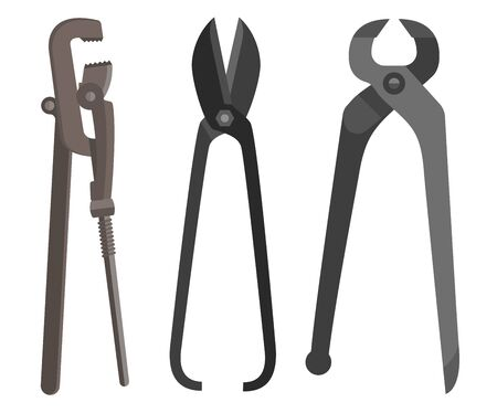 pincers: Instrument for difficult work spanner scissors pincers flat.  Illustration