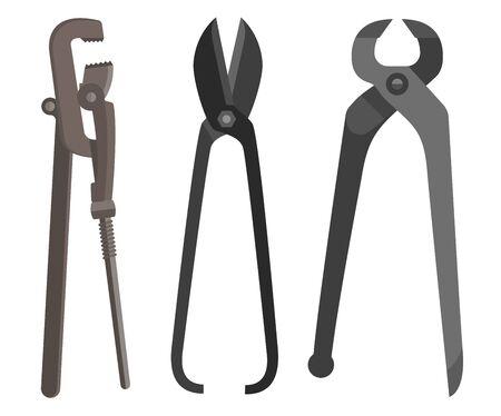 Instrument for difficult work spanner scissors pincers flat.  Illustration