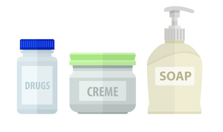 neatness: Set of bottles for bath soap and cream.